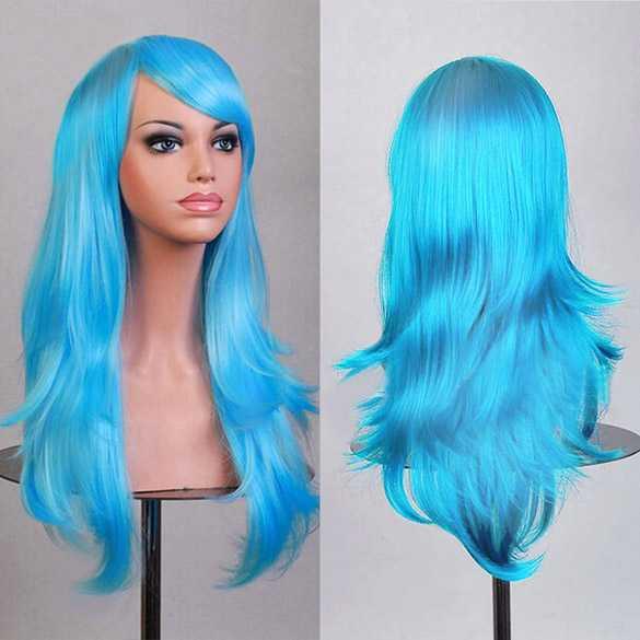 Carnaval pruik hemelsblauw lang haar in laagjes