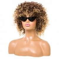 Pruik afro kroes met schouderlang haar spiraalkrullen
