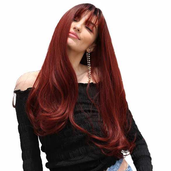 Pruik lang steil vurig rood haar in laagjes model Lola