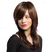 Pruik bruin steil haar met opvallende highlights LC 101