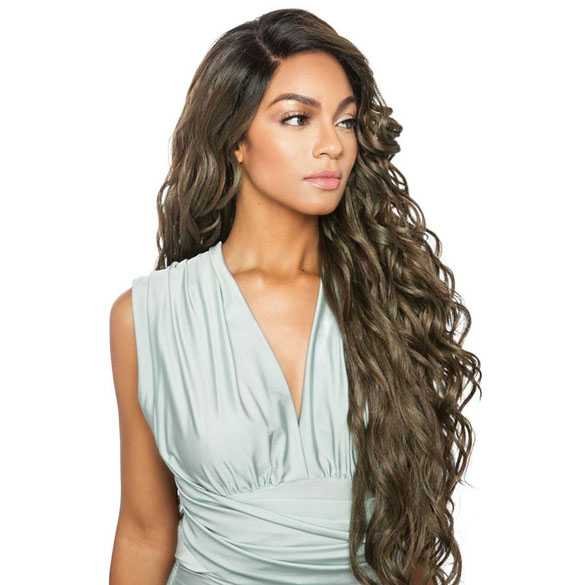 Brown Sugar swiss lace pruik mix met echt haar model BS298