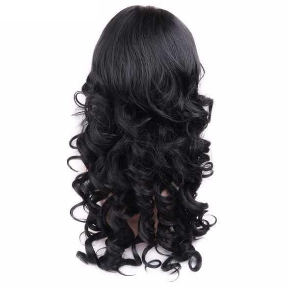 Mooie pruik lang zwart krullend haar zonder pony
