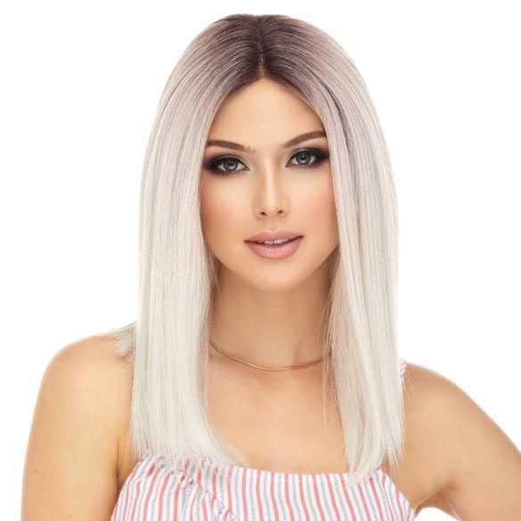 Lace pruik mix met echt haar steil schouderlang model Dove