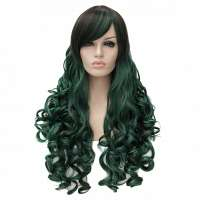 Bottle green-mix lolita pruik lang haar met krullen