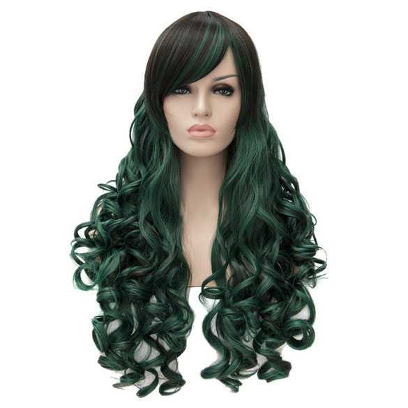 Bottle green-mix lolita pruik lang haar met krullen