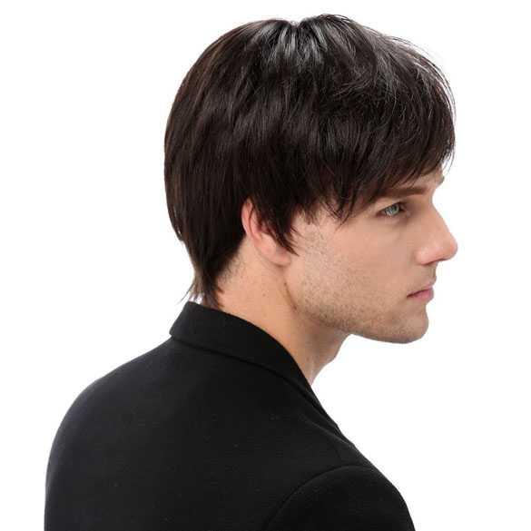 Herenpruik kort model medium bruin haar