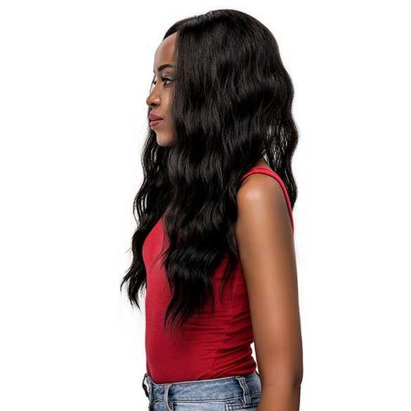 Lace pruik lang zwart haar met slagen zonder pony model 5564