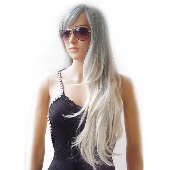 Pruik lang steil haar in lagen grijsblauw wit