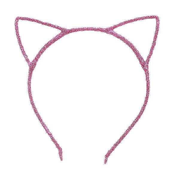 2 x Glinster haarband model katten oortjes roze