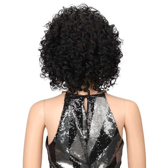 Nonchalante pruik zwart krullend haar kort model