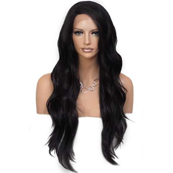 Lace pruik zwart lang haar zonder pony model Laurel
