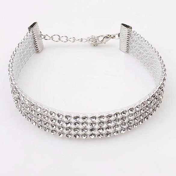 Luxe diamanten choker ketting 1.5cm breed