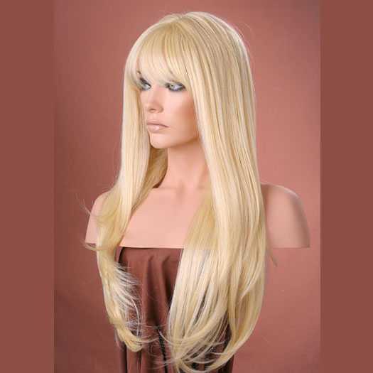 Pruik mix met echt haar lang met pony model Trisha