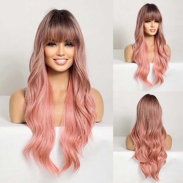 Pruik lang haar in soft pink met grove slagen model 6018