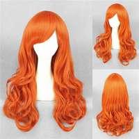 Pruik lang haar met grove slagen pompoen oranje