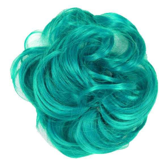 SALE : Color haar scrunchie met elastiek zeegroen turquoise