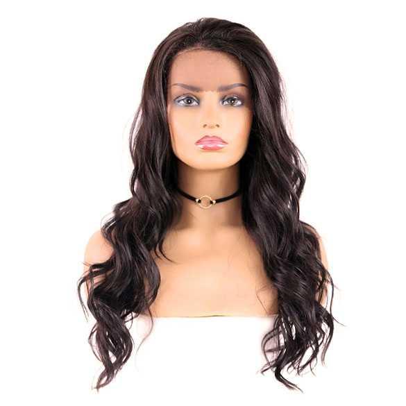 SALE : Lace pruik lang bruin haar met grove slagen zonder pony model Aysha