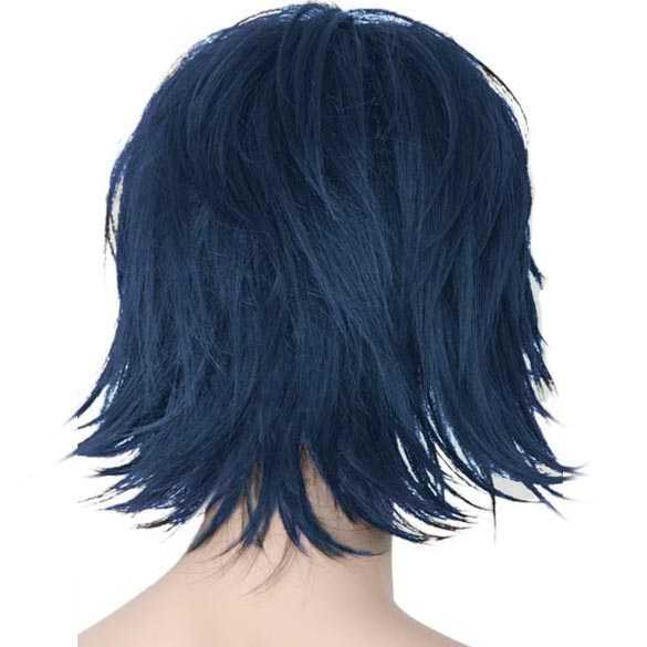 Manga pruik zwart blauw met langere lagen