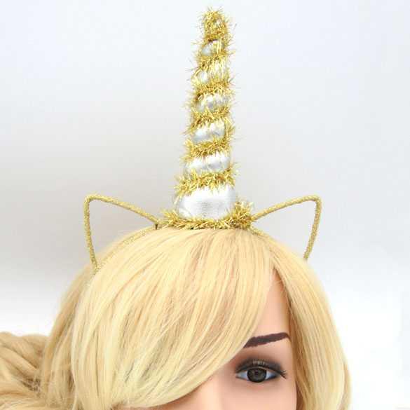 Unicorn haarband met oortjes Gold Sparkle