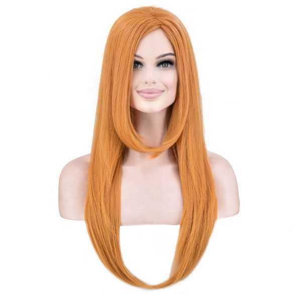 Pruik lang steil haar in lagen kleur saffraan