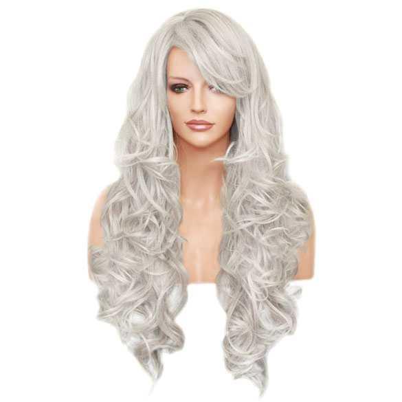 Pruik lang zilverwit haar met krullen model Boston kleur 60
