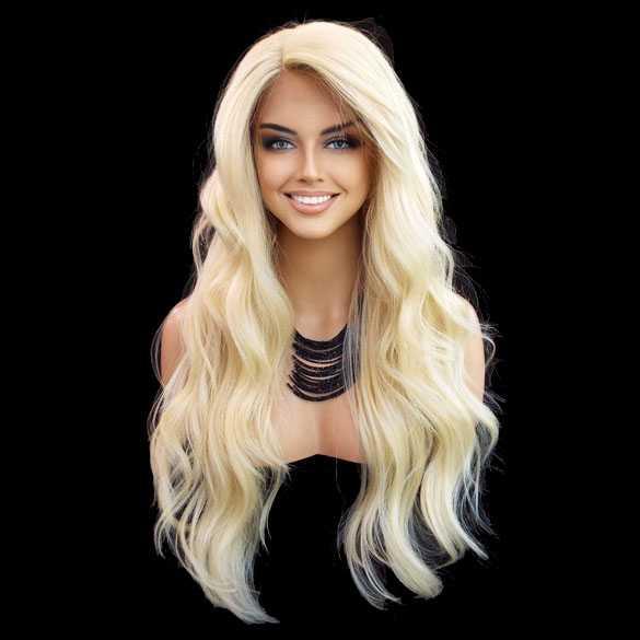 Lace pruik lichtblond lang haar zonder pony model Laurel