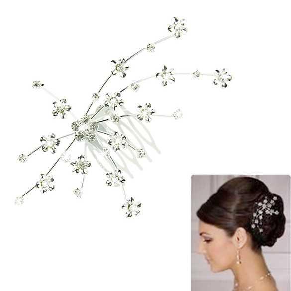 Zilverkleurige haarkam met kleine bloemetjes