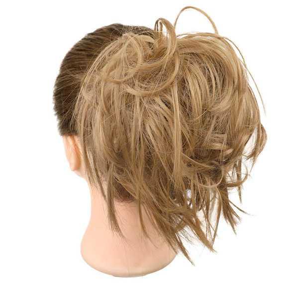 Warrige haar scrunchie met elastiek roomblond kleur 24