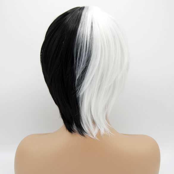 Manga Cosplay pruik zwart wit kort haar in laagjes