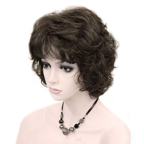 Moderne pruik kort krullend haar bruin kleur 8