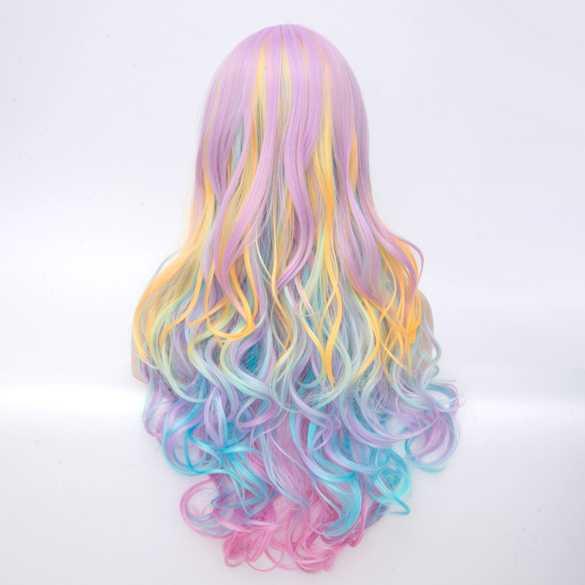 Carnaval pruik lang haar met krullen in pastel kleuren