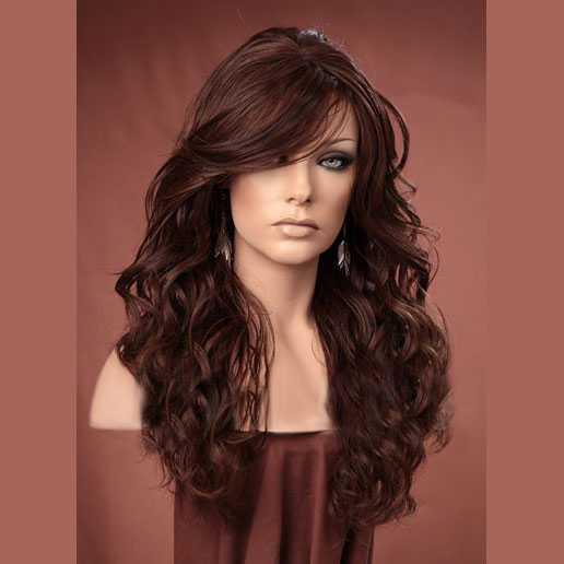 Lange Pruiken Echt Haar.Pruik Lang Bruin Haar Met Krullen Model Gabby Kleur P4 27 30