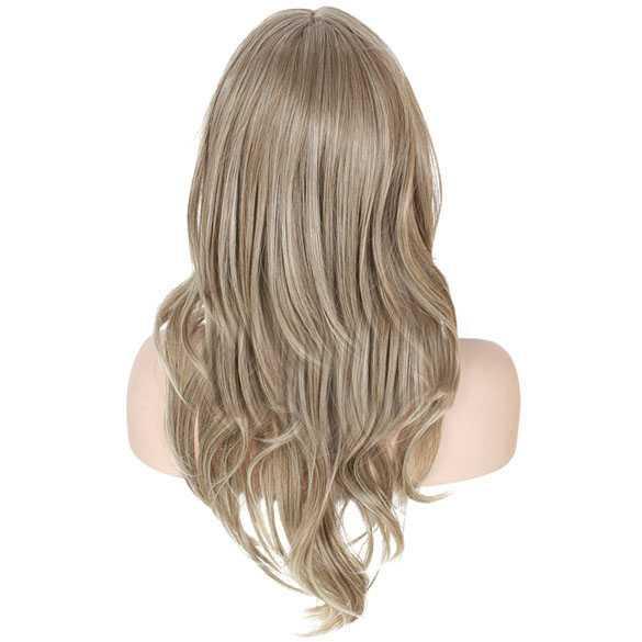 Zandblonde pruik lang haar in laagjes met lichtere puntjes