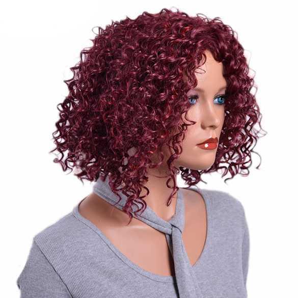 SALE : Trendy pruik wijnrood bob model met spiraalkrullen