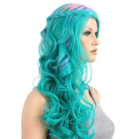 Luxe multi color pruik met ingevlochten haar