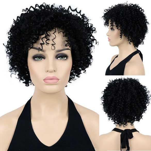 Pruik kort zwart haar met spiraalkrullen