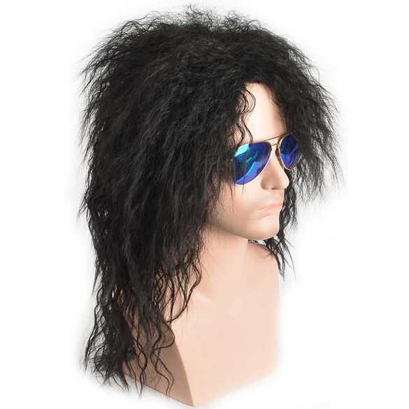 Carnaval pruik lang zwart wild haar model Rock