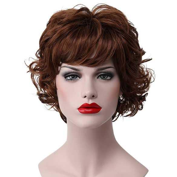 Moderne pruik kort krullend haar roodbruin kleur 30