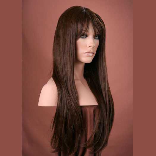 Pruik mix met echt haar bruin lang met pony model Trisha kleur 6