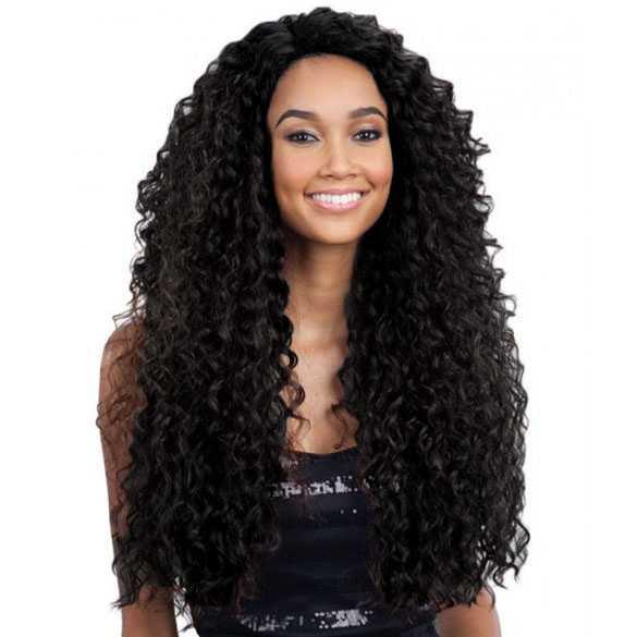 Lace pruik lang zwart haar met volle krullen model Kitron