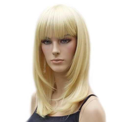 Pruik schouderlengte blond steil haar Lollipop kleur 613