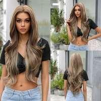 Swiss lace pruik met zeer lang blond bruin haar model Hailey