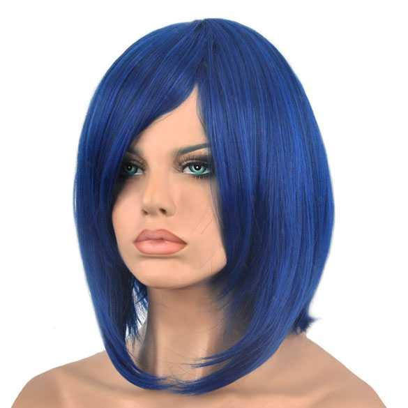 Pruik bob model blauw zwart mix