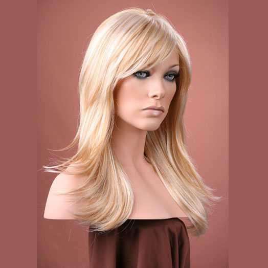 Pruik lang haar razor-cut lichtblond mix model Hannah