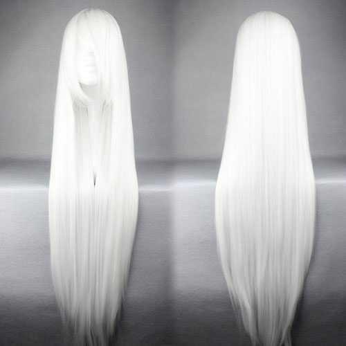 Carnaval pruik lang steil haar 100cm wit