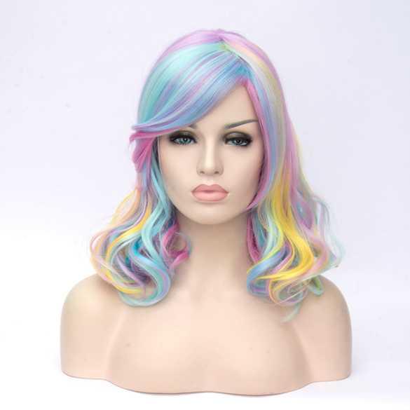 Katy Perry carnaval pruik schouderlang in pastel kleuren