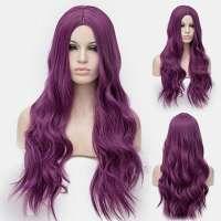 Gothic pruik lang haar met slagen in paars mix
