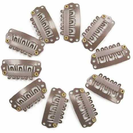 Snap clips set 10 stuks LICHTBRUIN 33X15MM