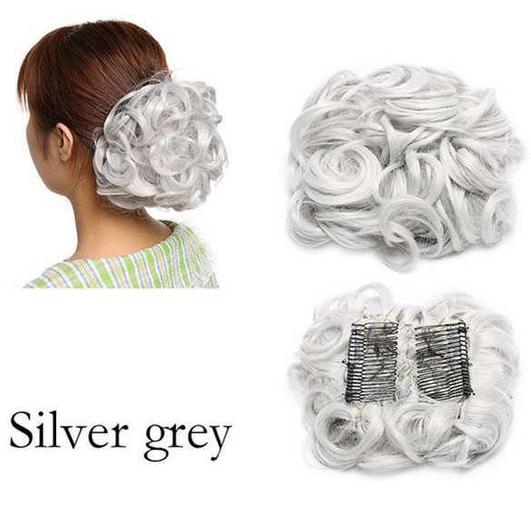 Chignon elastisch haarstukje / vlinderkam kleur silver grey
