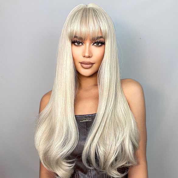 Pruik lang blond haar met rechte pony model 5038